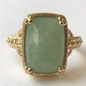Vintage Gold Green Jade Cocktail Ring 6 7 8 9 10